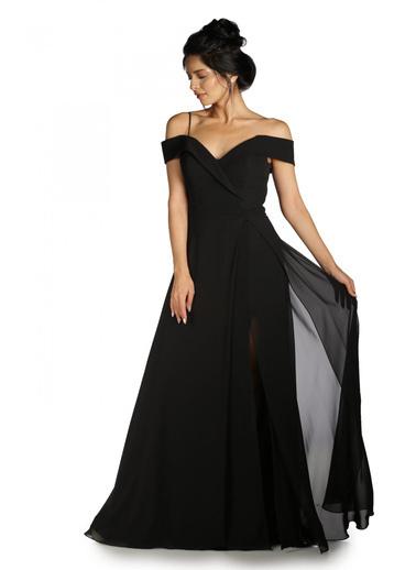 Pierre Cardin Düşük Omuzlu Uzun Abiye Elbise Siyah